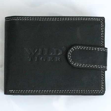 Pánska kožená peňaženka WILD na šírku - čierna so zapínaním