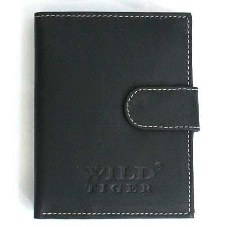 Pánska kožená peňaženka WILD na výšku - čierna so zapínaním