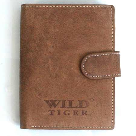 Pánska kožená peňaženka WILD na výšku - svetlohnedá so zapínaním