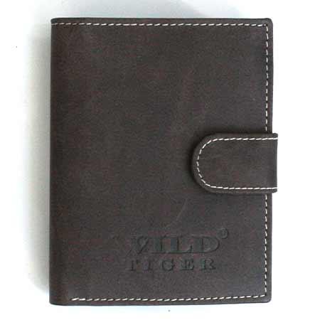 Pánska kožená peňaženka WILD na výšku - tmavohnedá so zapínaním