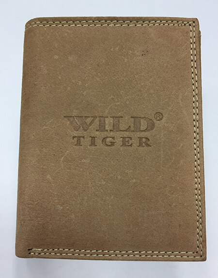 Pánska kožená peňaženka WILD na výšku - svetlohnedá bez zapínania