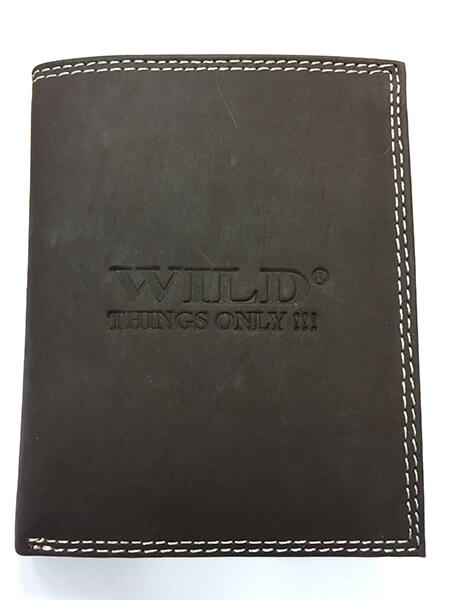 Pánska kožená peňaženka WILD na výšku - tmavohnedá bez zapínania