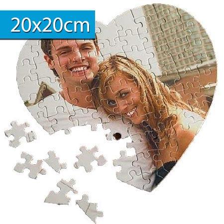 Puzzle s vlastnou fotografiou v tvare srdca - rozmer: 20 x 20 cm - 76 dielikov