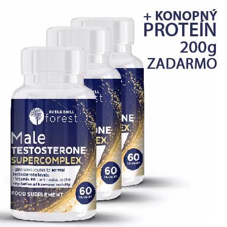 3x testosterónový superkomplex - balenie 60 kapsúl + 200g konopného proteínu