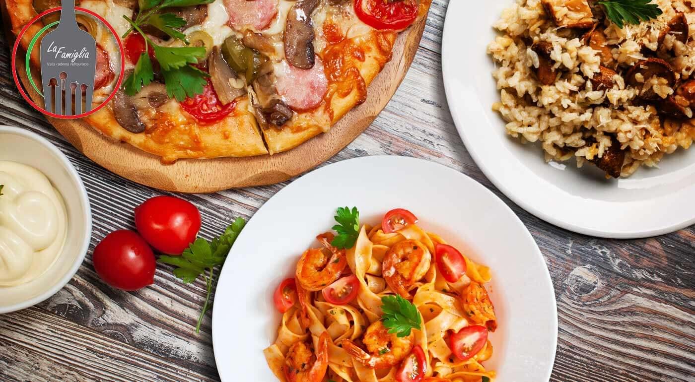 Fotka zľavy: Príďte ochutnať poctivú domácu kuchyňu s troškou talianskeho temperamentu. Čaká vás famózna pizza, rizoto alebo cestoviny v reštaurácii La Famiglia v Ružomberku.