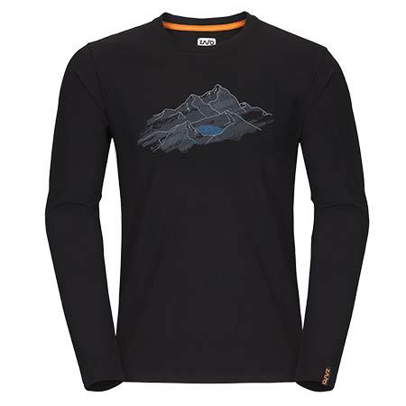 Pánske tričko Zajo Bormio LS Black Nature - veľkosť S