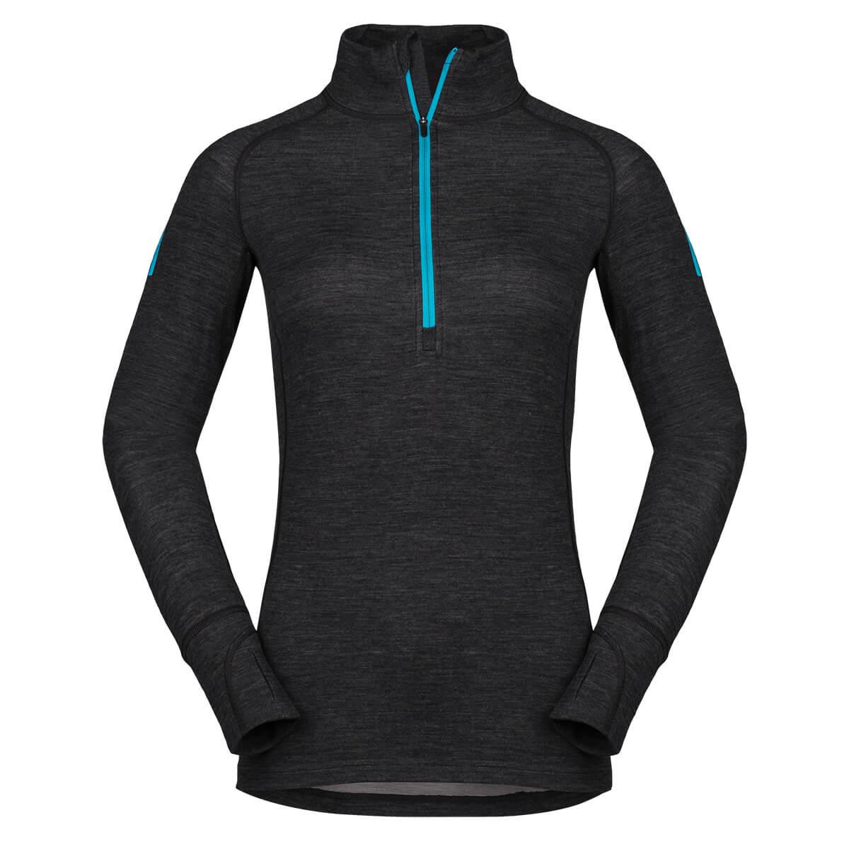 Dámske tričko Zajo Nora Merino W Zip Top LS Black - veľkosť S