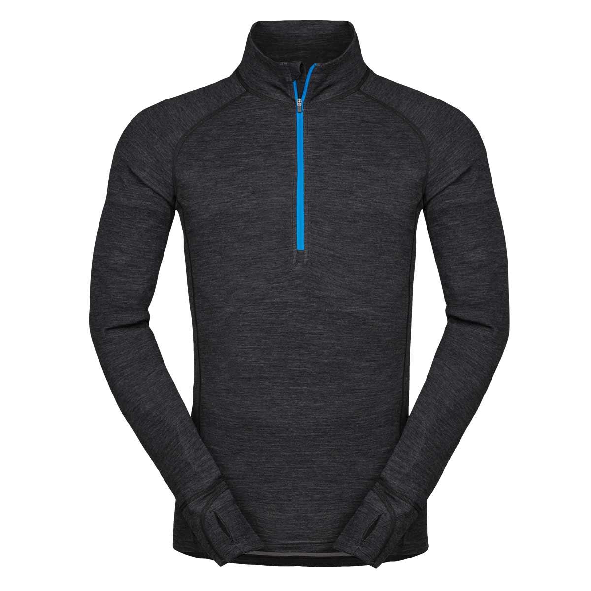 Pánske tričko Zajo Bergen Merino Zip Top LS Black - veľkosť XS