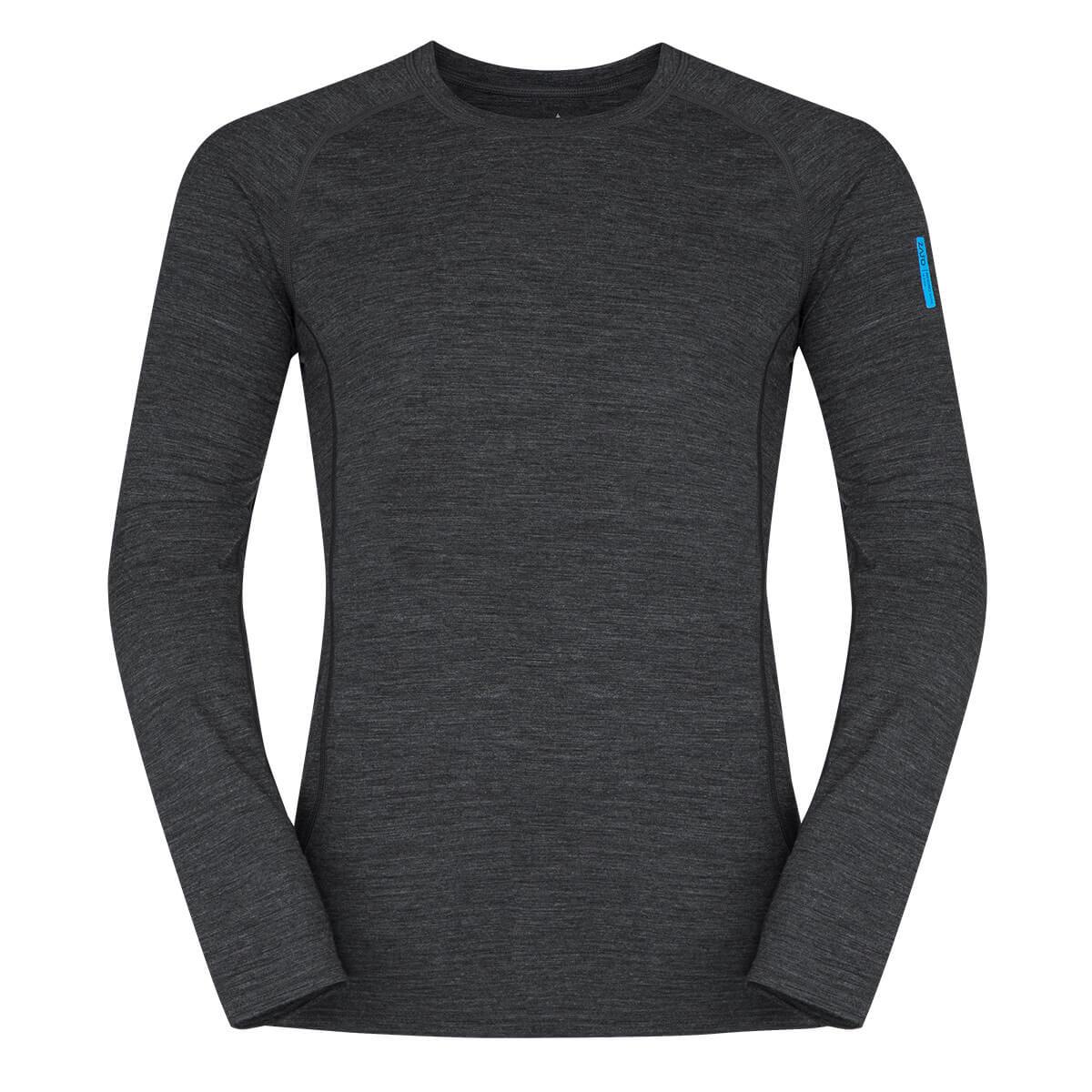 Pánske tričko Zajo Bjorn Merino Nylon T-shirt LS Black - veľkosť S