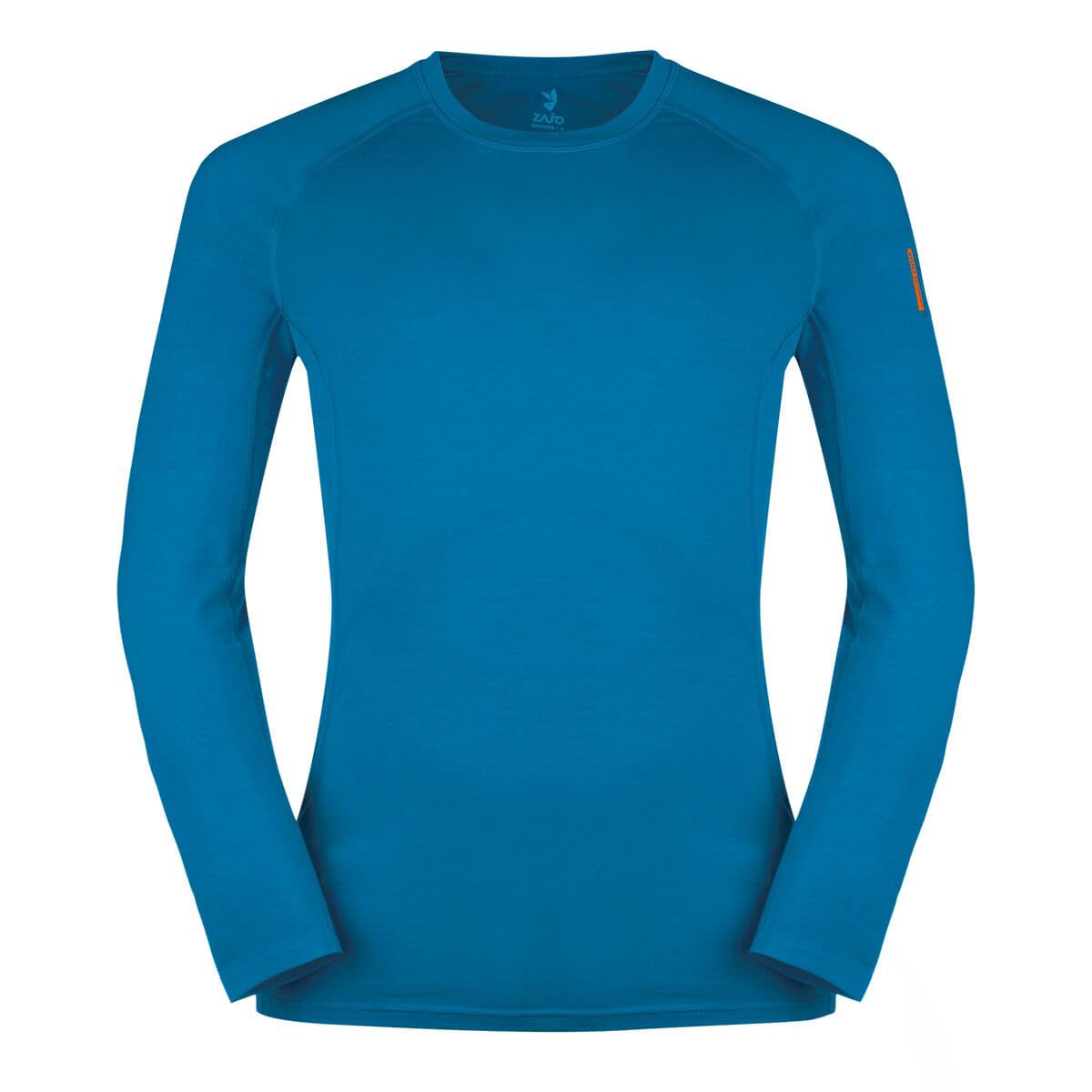 Pánske tričko Zajo Bjorn Merino Nylon T-shirt LS Greek Blue - veľkosť XS