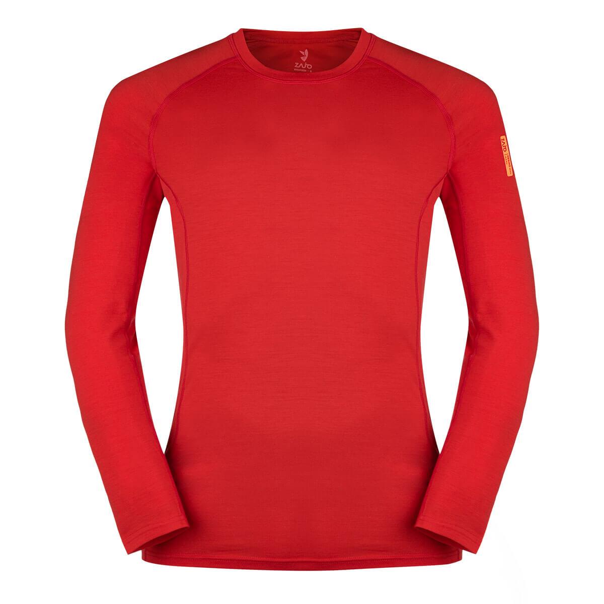 Pánske tričko Zajo Bjorn Merino Nylon T-shirt LS Racing Red - veľkosť S