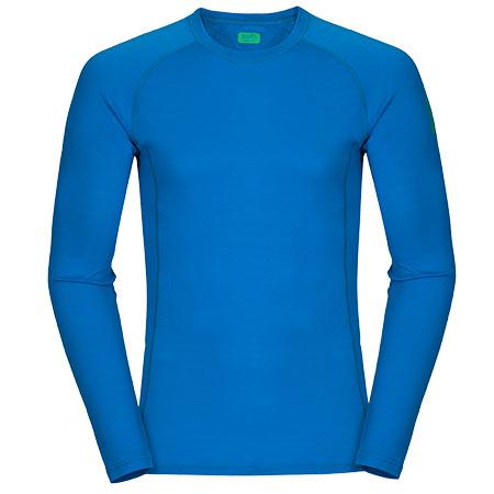 Pánske tričko Zajo Bjorn Merino T-shirt LS Blue Jewel - veľkosť S