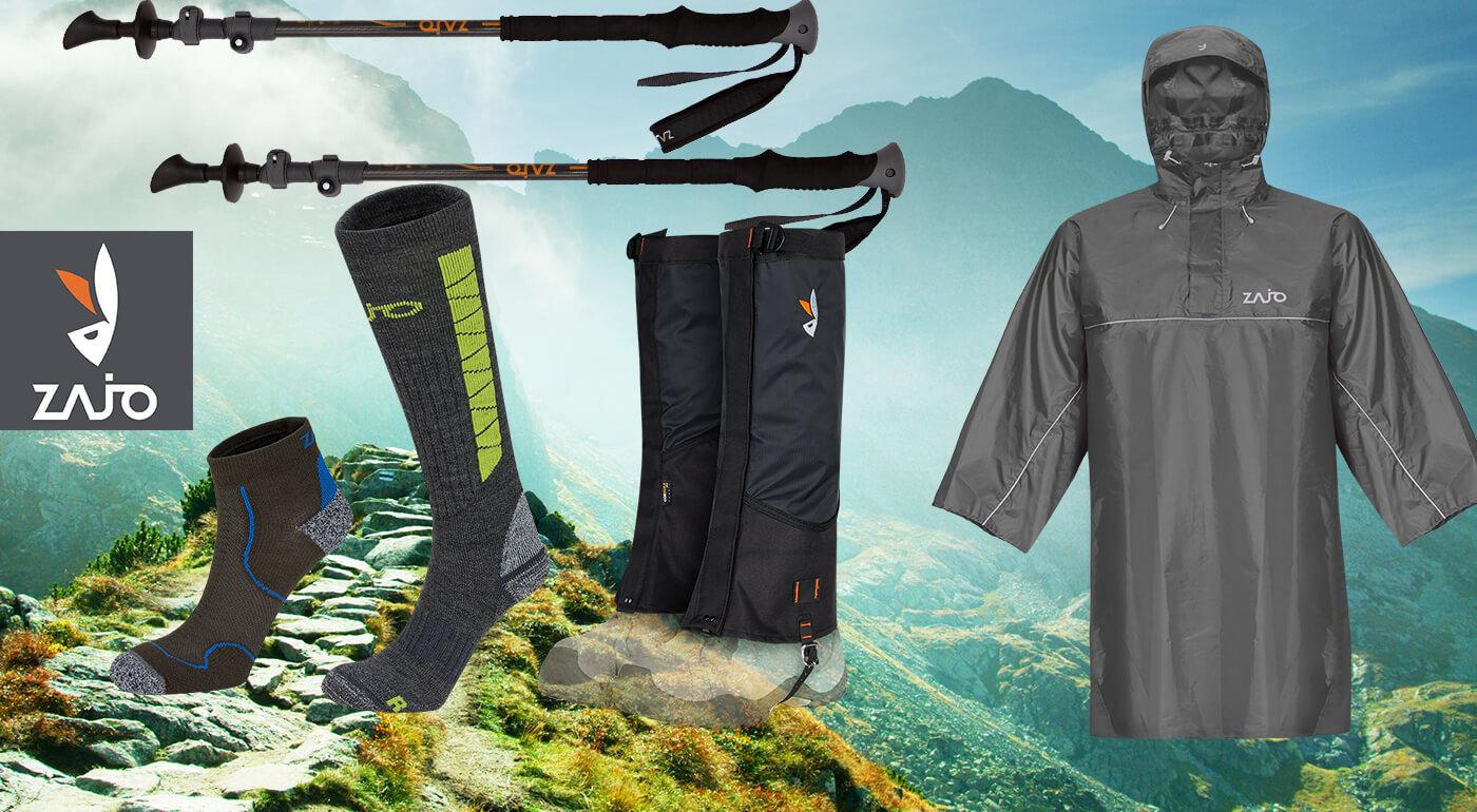 Trekingové palice, návleky, pončo do dažďa a ponožky pre turistov od slovenskej značky ZAJO