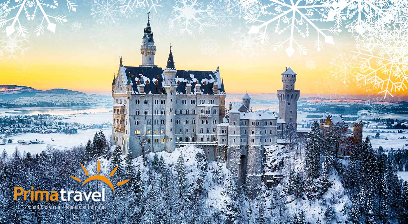 Zažite rozprávkovú atmosféru zasneženého zámku Neuschwanstein a ďalších bavorských zámkov počas Adventu