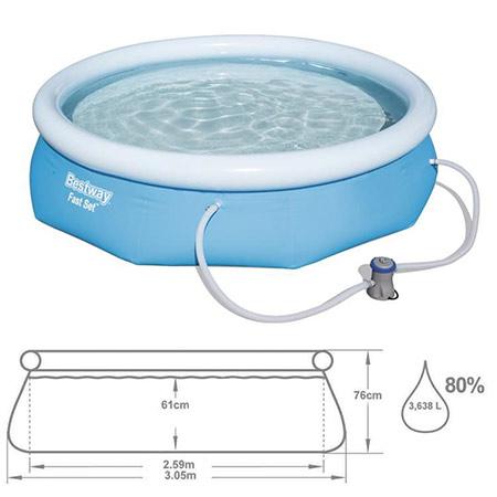 Bestway Fast Set Nafukovací bazén s filtráciou 57270 rozmery 305x76 cm
