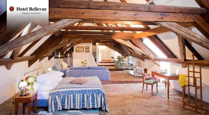 Fotka zľavy: Vyberte sa za romantikou do krásneho mesta Český Krumlov. Príjemný 4* Hotel Bellevue nájdete neďaleko druhého najväčšieho hradu Českej republiky, kde si výborne oddýchnete.