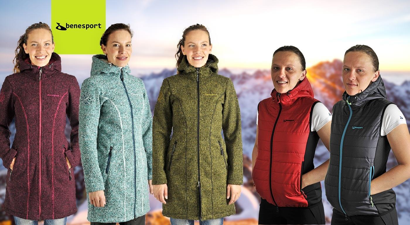 Dámske bundy, vesty alebo mikina Benesport s funkčným dizajnom, ktoré zahrejú a ochránia v zlom počasí