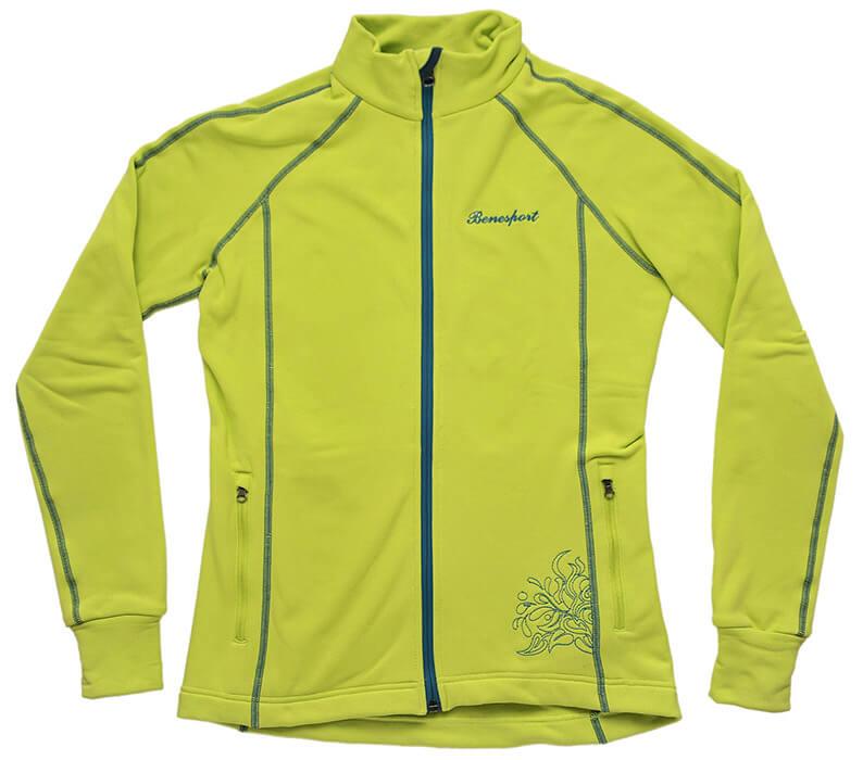 Benesport dámska bunda Krížna - neónovo zelená, veľkosť XS