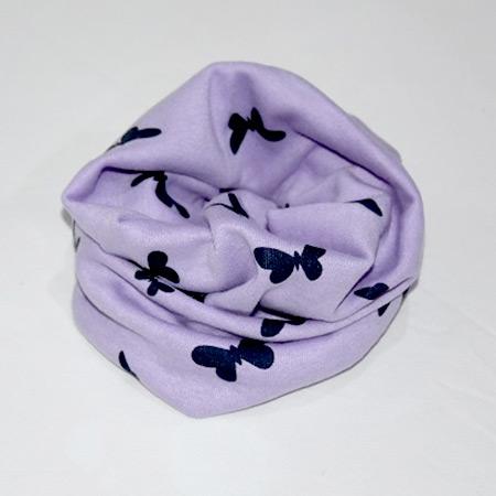 Detský bavlnený nákrčník Motýľ fialový