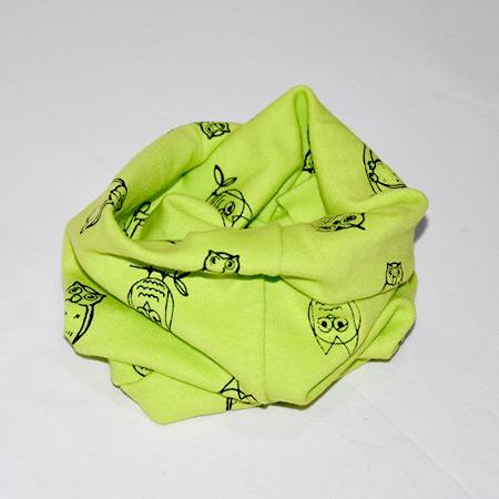 Detský bavlnený nákrčník Sova zelený