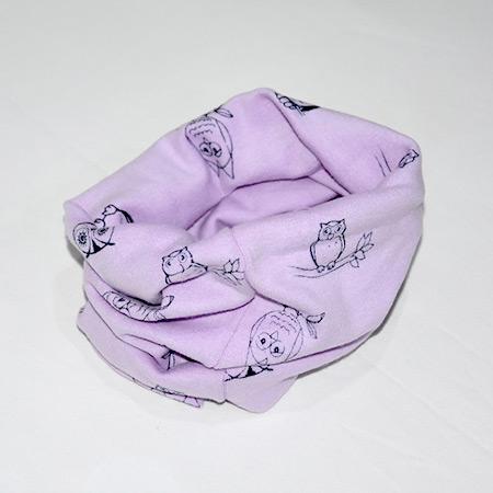Detský bavlnený nákrčník Sova purpurový