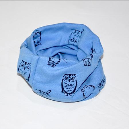 Detský bavlnený nákrčník Sova modrý