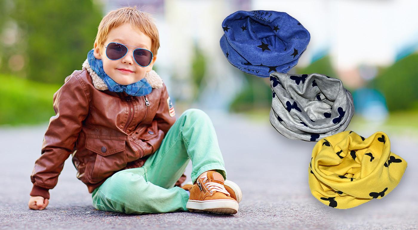 Bavlnený nákrčník pre deti od 6 mesiacov do 10 rokov v rôznych farbách a vzoroch