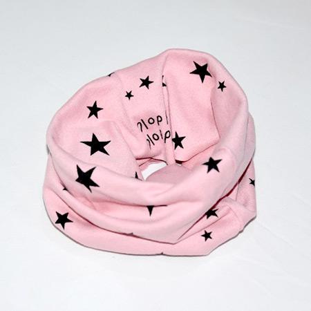 Detský bavlnený nákrčník Hviezdičky ružový