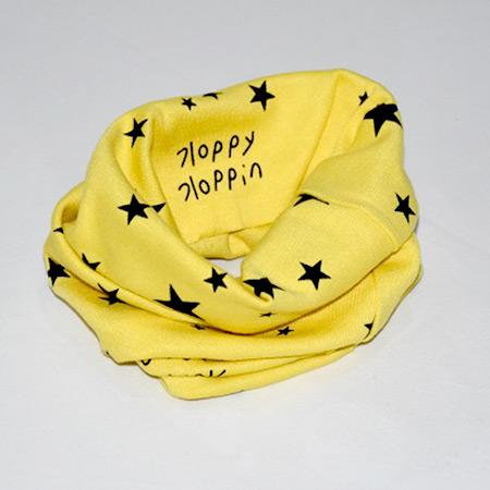 Detský bavlnený nákrčník Hviezdičky žltý