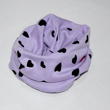 Detský bavlnený nákrčník Srdce purpurový