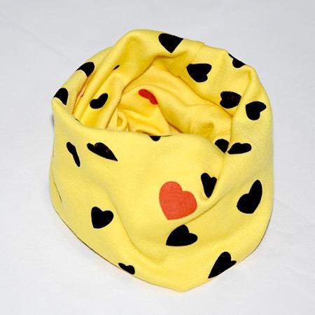 Detský bavlnený nákrčník Srdce žltý