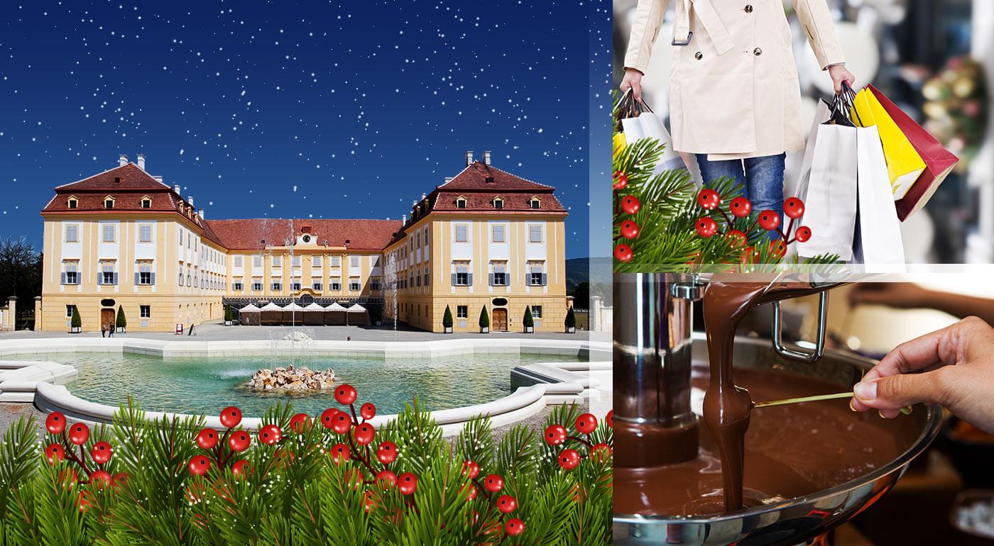 Rakúsko za 1 deň: zájazd s návštevou zámku Schloß Hof, čokoládovne Hauswirth, skvelé nákupy v Parndorfe a adventné trhy