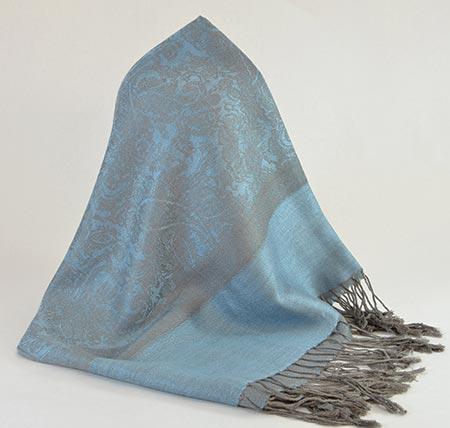 Pašmína (kašmírový šál) - farba modro-sivá