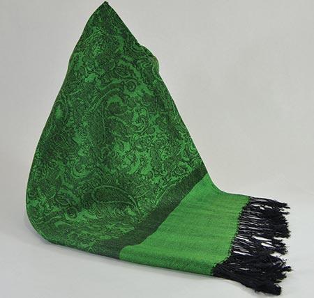 Pašmína (kašmírový šál) - farba zeleno-čierna