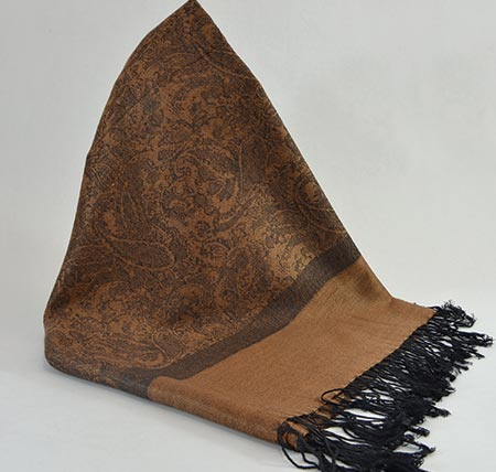 Pašmína (kašmírový šál) - farba hnedo-čierna