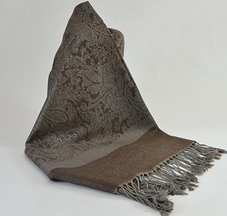 Pašmína (kašmírový šál) - farba hnedo-sivá