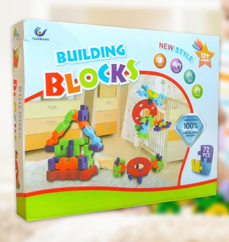 Kocky pre najmenších Building Blocks 72 dielov od 12 mesiacov