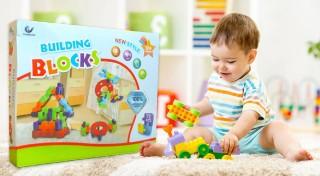 Zľava 19%: Skladačka patrí do základnej výbavy každého dieťatka. Kúpte tomu svojmu kvalitnú stavebnicu Building Blocks so 72 dielikmi v pestrých farbách, z ktorých si môže poskladať čo len chce.