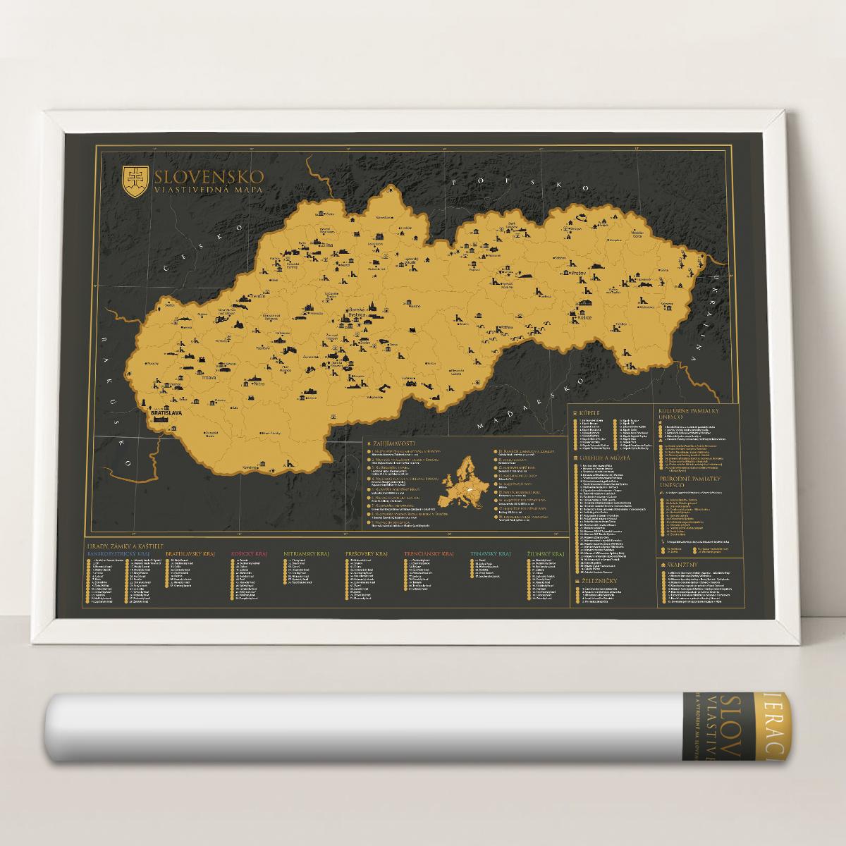 Vlastivedná stieracia mapa Slovenska