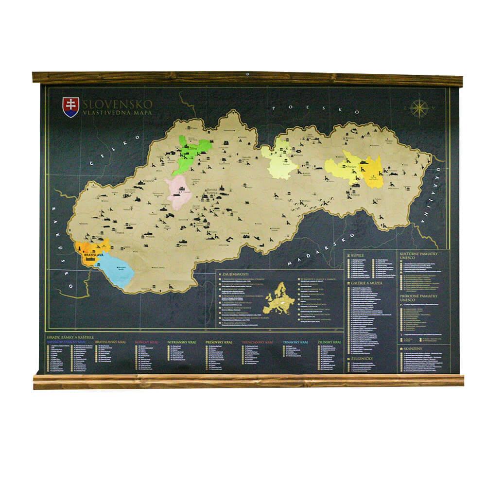 Lišty na zavesenie mapy - morené drevo
