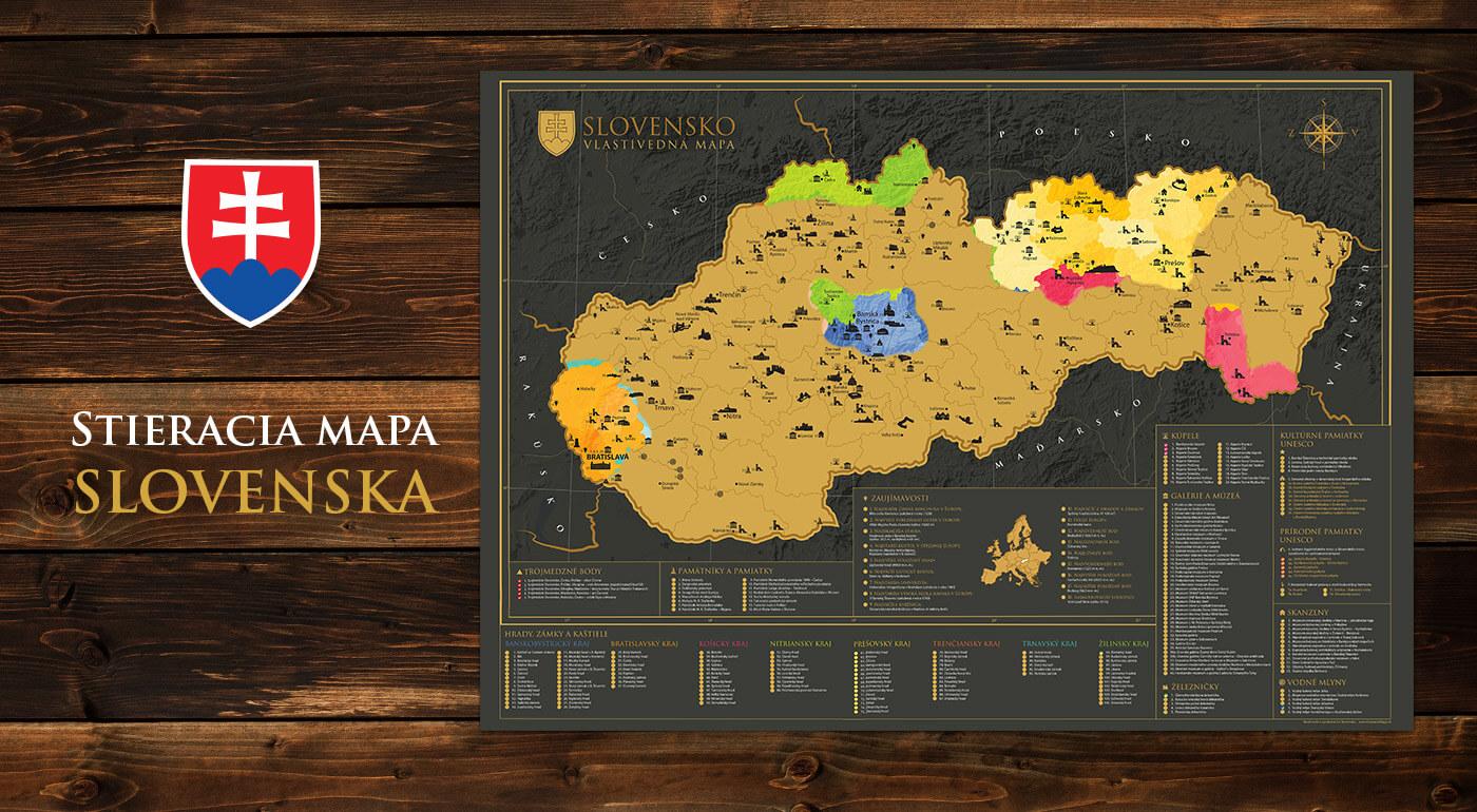 Stieracia mapa Slovenska - objavujte našu krajinu a svoje cesty a spoznávanie si značte na svoju mapu. Ideálny darček aj pre vašich blízkych.