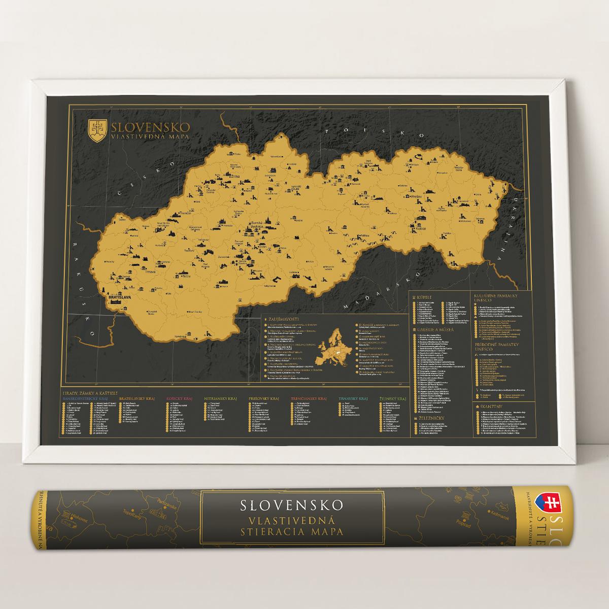 Vlastivedná stieracia mapa Slovenska - darčeková verzia