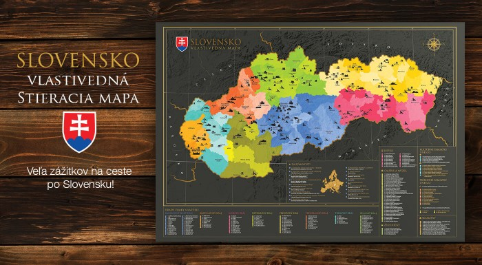 Fotka zľavy: Stieracia mapa Slovenska - vlastivedná