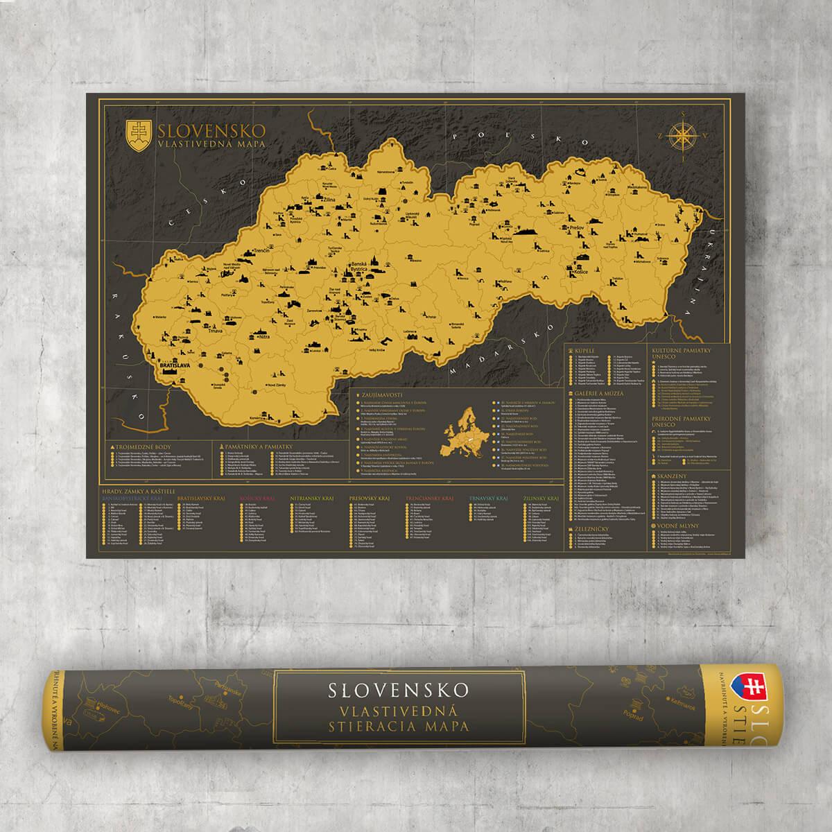 Stieracia mapa Slovenska vlastivedná - darčeková verzia
