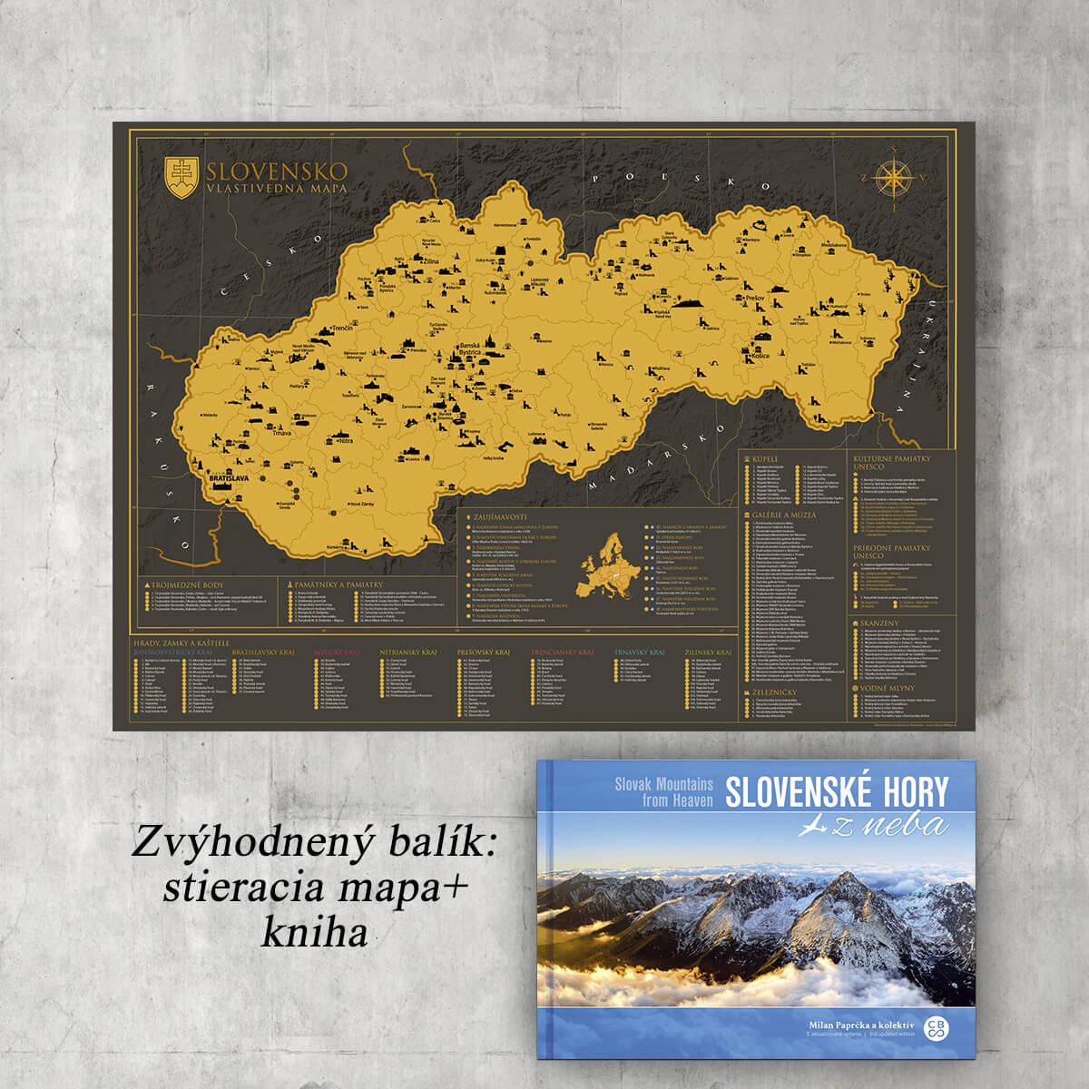 Zvýhodnený balík: Slovenské hory z neba + Stieracia vlastivedná mapa Slovenska (darčeková verzia)