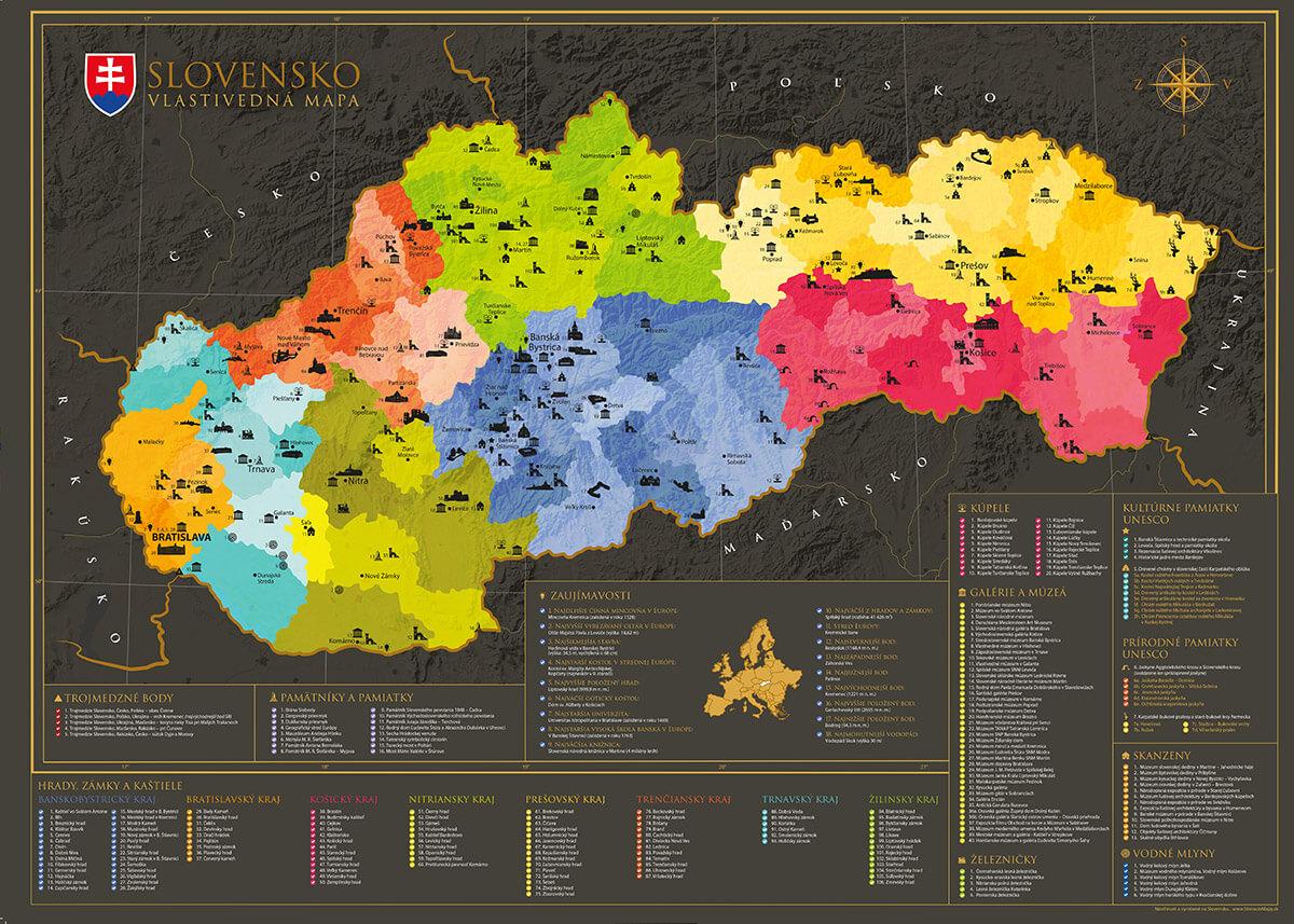 Mapa Slovenska - vlastivedná (poster bez stieracej vrstvy)