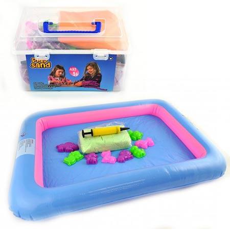 Play Sand kinetický piesok pre deti 1kg so sadou formičiek a podložkou