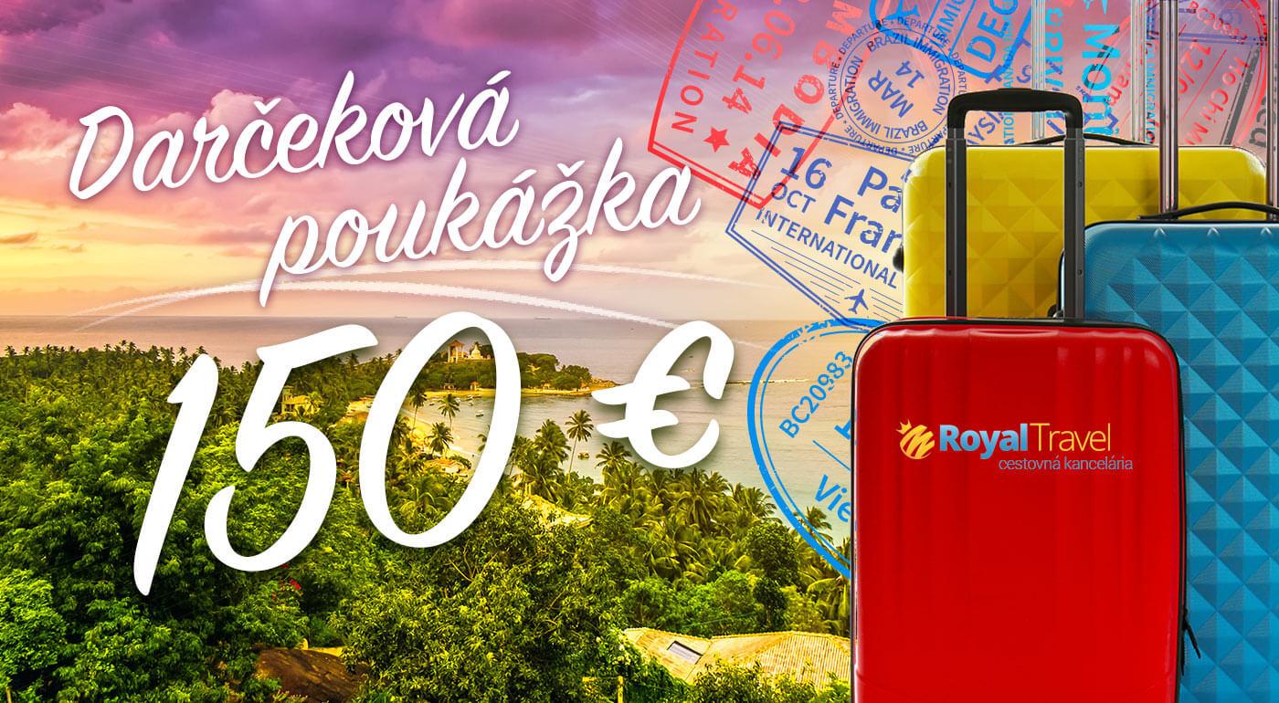 Darčeková poukážka na letecké zájazdy od CK Royal Travel - pri kúpe dvoch poukážok extra darček!