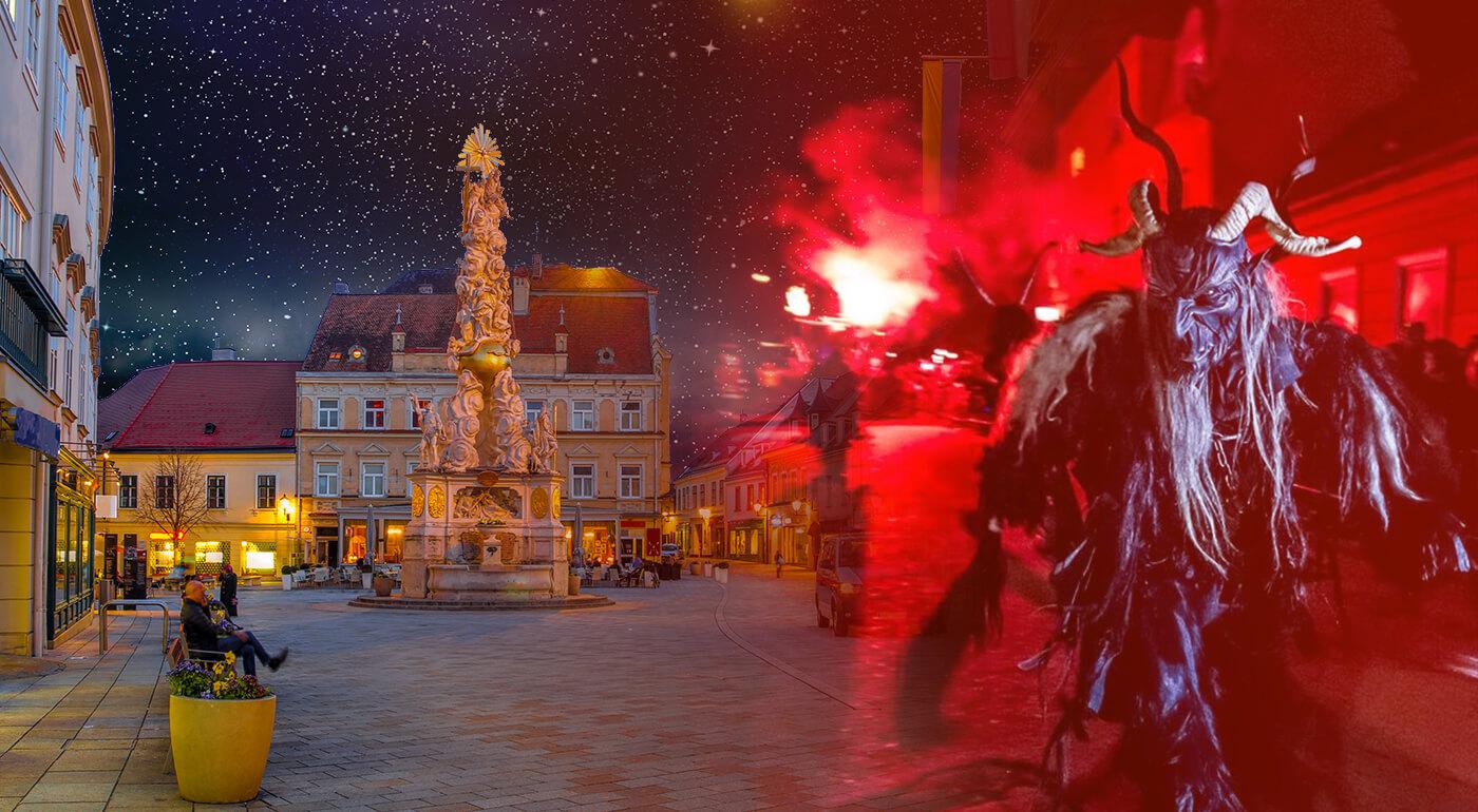 """Fotka zľavy: Mestečko Baden nie je v decembri len o rímskych kúpeľoch. Príďte si užiť zimné kúpanie a jedinečný sprievod čertov """"krampuslauf"""" v meste neďaleko Viedne."""