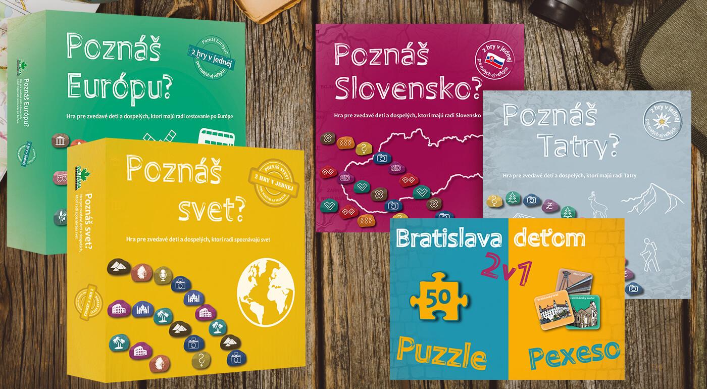 Spoločenské hry z vydavateľstva Dajama - Poznáš Tatry, Bratislavu, Slovensko, Európu a svet? alebo Bratislava deťom